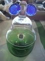 レトロ ササキガラス 下側グリーン 蓋付容器 中古