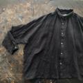 ラスト1点*ICHI Antiquites 東炊きリネンの長袖シャツ(BLACK GINGHAM)