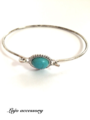 Antique silver turquoise bangle (thin)