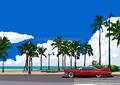 「常夏Beach-Street」 南国イラスト版画作品