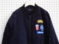 コーデュロイ×ワッペン付きMA1タイプブルゾン/紺色ネイビー 【Loca People】ジャケットバックプリント