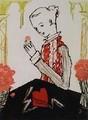 ハートの贈り物から!牛尾 篤(うしお あつし)の銅版画作品 題名:Flower shop(ふらわーしょっぷ)  専用額付き(簡易化粧箱入り) 【 ビーグラッド通販 】
