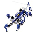 Scalextric1/32スロットカー用フィギュア C8303◆ピットチーム Aセット/ブルー  (Jack Men x3 Wheel Men x7 Dallaara x1台付)  演出効果満点!★インディーカー付き。