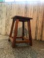 アンティーク古材仕上げの無垢木スツ-ル、現品一点限り。送料無料
