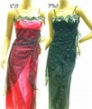 1209 薔薇刺繍レイヤーサテンロングドレス