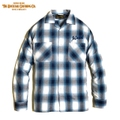 "DUCKTAIL CLOTHING ""TURN AROUND"" LONG SLEEVE OPEN COLLAR CHECK SHIRTS BLUE"