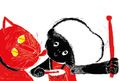 《ポストカード》きくちちき「ちきばんにゃー」D・猫と女の子