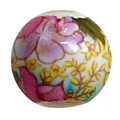 陶器ビーズ 14mm 桃色小黄花