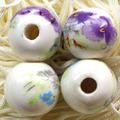 陶器ビーズ 18mm 紫花