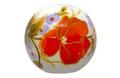 陶器ビーズ-14mm-赤と薄紫色花