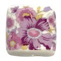 陶器ビーズ -扁-花柄大