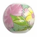 陶器ビーズ 16mm ピンク色の花