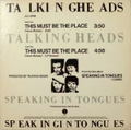 """TALKING HEADS / THIS MUST BE THE PLACE (Naive Melody) プロモ・オンリー12"""""""