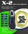 X-2シューレースシステム 結ばない!ほどけない!スリッポン!簡単に縛りを調整できる靴紐 ゴム製伸びる靴紐+ロックストッパー(カラー:イエロー) 在庫品