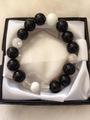 天然石パワーストーン【オニキス&ホワイトターコイズ&クラック水晶&水晶】ブレスレット