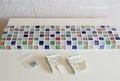 O様オーダー品 カラフルMix ガラスモザイクタイルのウォールシェルフ