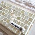 T様オーダー品 ガラスモザイクタイルとナチュラルストーンのディスプレイトレイ(小物置き)オーダーロゴプレート付(小)