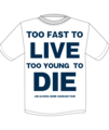 JOE ALCOHOL TOO FAST TO LIVE TOO YOUNG TO DIE T-Shits NAVYロゴ
