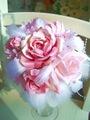 造花ピンクミックス+天使の羽根のラウンドブーケ&ブートニア