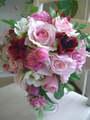 造花シュガーピンクのティアドロップ&ブートニア