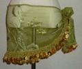 ヒップスカーフ(オリーブグリーン×金コイン2種類)ススキ柄刺繍 HPW-ST10