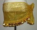 ヒップスカーフ(イエロー×金コイン2種類)クネクネ刺繍 HPW-ST12