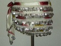 ヒップスカーフ(柄入りホワイト&レッド系×銀コイン) HPW-SS04