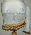 ヒップスカーフ(ホワイト×金コイン2種類)スパンコール刺繍 HPW-ST03