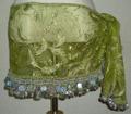 ヒップスカーフ(ライトオリーブグリーン×銀コイン2種類)スパンコール刺繍 HPW-ST04
