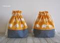 受注後の製作です。ぞうさんとヒッコリーデニムのコップ袋 オレンジ
