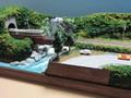 ミニらまワイド13 小さな滝とガーダー鉄橋のある風景