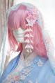 つまみ細工 ピンクの花の下がり付きブローチ(完成品)