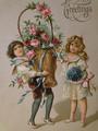 アンティークポストカード 薔薇のバスケットを持つ少年と花束を持つ少女