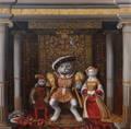 油彩作品 ねこ貴族「ヘンリーネコ8世とジェーンシーネコ」