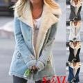 レディースファッションジャケット/ファーコート裏地ターンダウン/アウターウェア/レディースジャケット