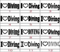 ILVE-004:I Love Diving  (ダイビング)ステッカー(24種内2点選択)
