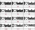 ILVE-006:I Love SnowBoard (スノーボード)ステッカー(24種内2点選択)