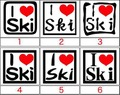 ILV2E-001:I Love Ski   (スキー)ステッカー(12種内3点選択)