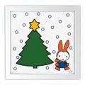 世界50枚限定【ミニポスター】クリスマスゆきのひのうさこちゃん20cm角★額装済冬雪