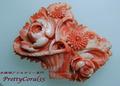 桃サンゴ スカッチの花カゴの帯留