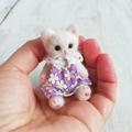 羊毛猫人形(白猫*紫花柄服)