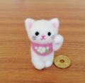ほのぼの幸せ招き猫(白猫☆ピンクに小花)