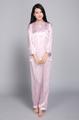 アトピー パジャマにおすすめ!大人 夏春素材 シルク100%サテン 長袖 湿疹の首カバー 襟付 ピンク花柄 前開き 送料無料