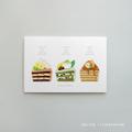 【ショートケーキ3種】スイーツのイラストポストカード