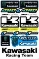 EMONSTER ENERGY(モンスターエナジー) kawasaki カワサキ One Industries ステッカー B5 N173