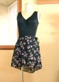 バレエレッスン用巻きスカート(黒地に紫小バラ柄)
