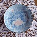 紫陽花花柄の少し深みがあるレトロ小皿12cm