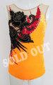 ◆レオタード 140サイズ オレンジ&ミスティサンドレッド モチーフ 装飾付