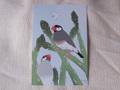 ポストカード アスパラと文鳥