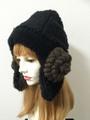 1417 もこもこ黒羊の耳あて帽子:黒×ダーク